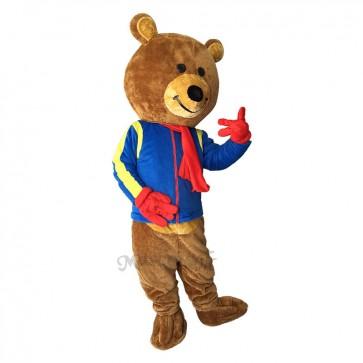 Lovely Brisky Bear with Blue Shirt Mascot Costume