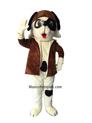 Cute Brown Puppy Dog with Spots & Aviator Outfit  Mascot Costume