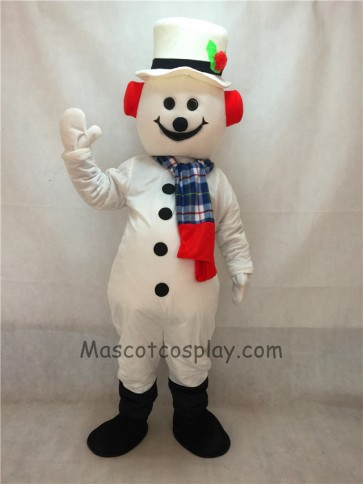 Jolly Snowman with Hat, Earmuffs & Scarf Christmas Mascot Costume