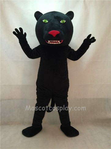 Black Panther Mascot Costume with Green Eyes