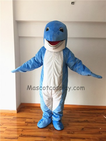 Cute Blue Dolphin Mascot Costume