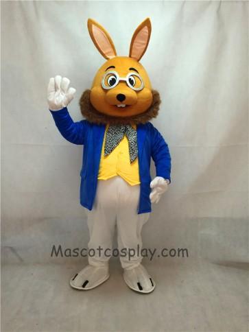 Mr. Brown Bunny Mascot Costume in Coat
