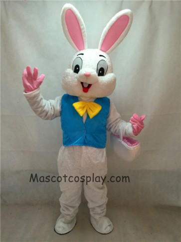 Easter Bunny Mascot Costume Bugs Rabbit Hare Adult Fancy Dress Cartoon Suit in Blue Vest