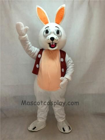 White Bunny Rabbit with Glasses and Vest Mascot Costume