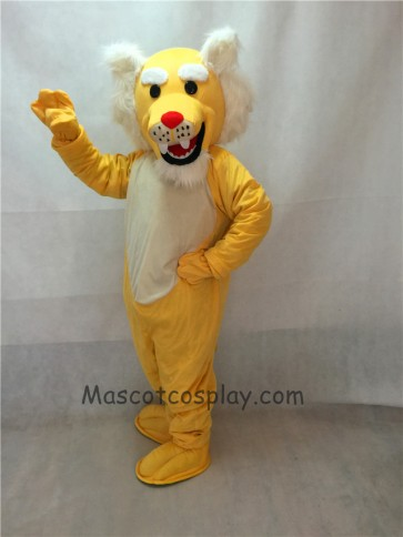 Realistic Muscle Yellow Wildcat Mascot Costume