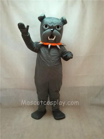 Grey Bulldog with Red Collar Mascot Costume