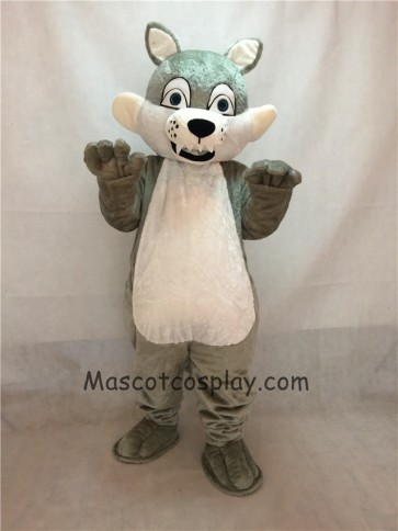 Grey Gray Long-haired Wolf Mascot Adult Costume