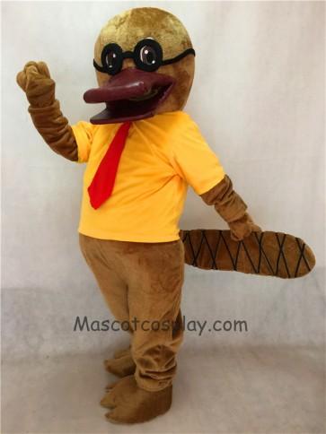Cartoon Platypus with Glasses Mascot Costume in Yellow T-shirt