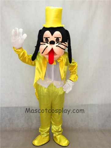 Yellow Suit and Hat Goofy Dog Mascot Adult Costume
