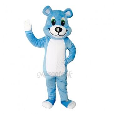 New White Belly Blue Bear Mascot Costume