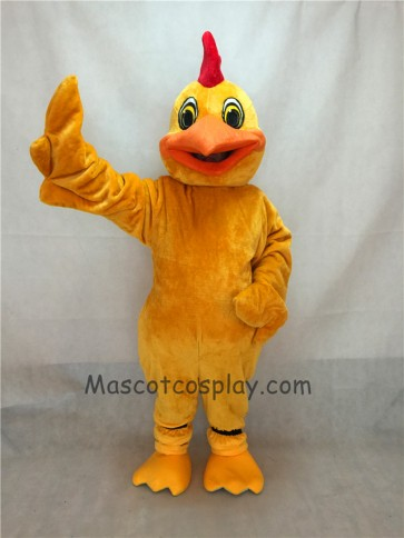 New Long Hair Plush Yellow Chicken Mascot Bird Costume