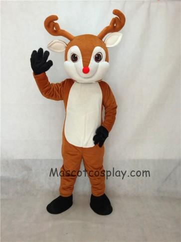 Rudolph The Red Nose Deer Reindeer Mascot Costume
