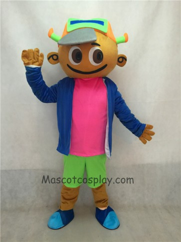 Cap Boy in Blue Coat and Green Pants Mascot Costume