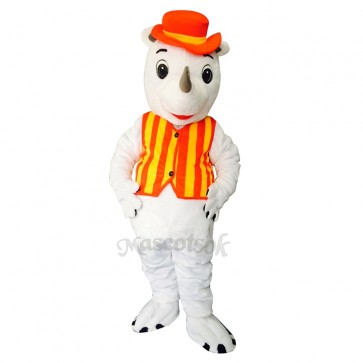 New Happy Rhino with Hat Mascot Costume