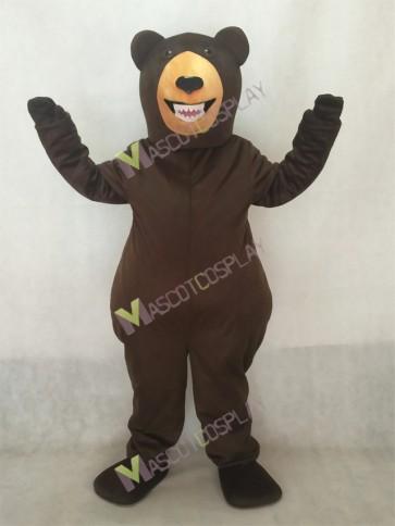 Fierce Dark Brown Grizzly Bear Mascot Costume