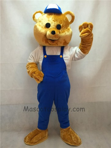 Teddy Bear Mascot Costume with Blue Overalls and Hat
