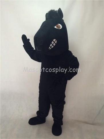Cute New Fierce Black Stallion Horse Mascot Costume