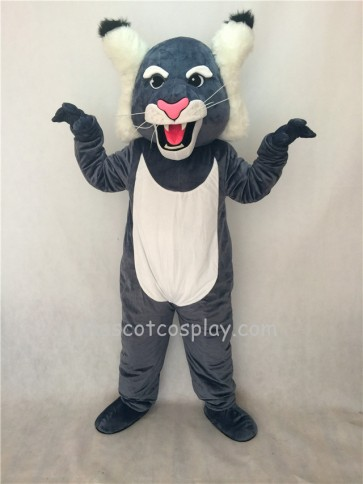 Cute Grey Wildcat Mascot Costume