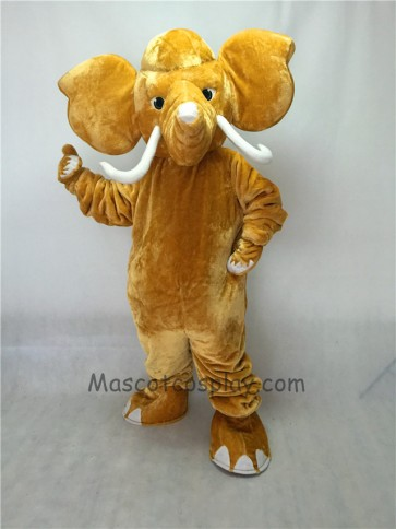 Cute Mammoth Elephant with Long Tusk Mascot Costume
