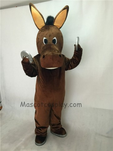 Cute Brown Jack Donkey Christmas Mascot Costume