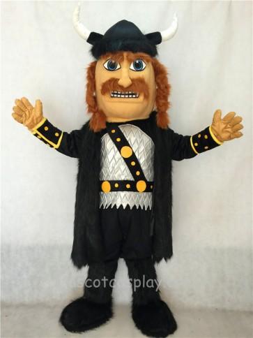 Adult Viking Mascot Costume with Helmet and Black Cloak