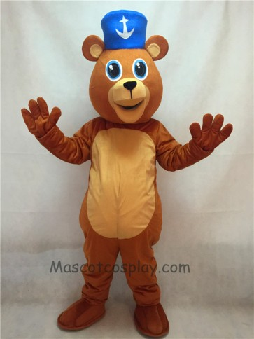 Happy Valentine's Day Bear with Blue Hat Mascot Costume