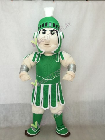 Spartan Trojan Knight Sparty Mascot Costume with Green Armour