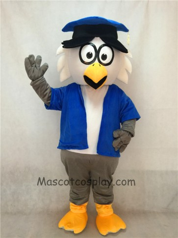 Dr. Owl Mascot Adult Costume with Blue Coat and Hat