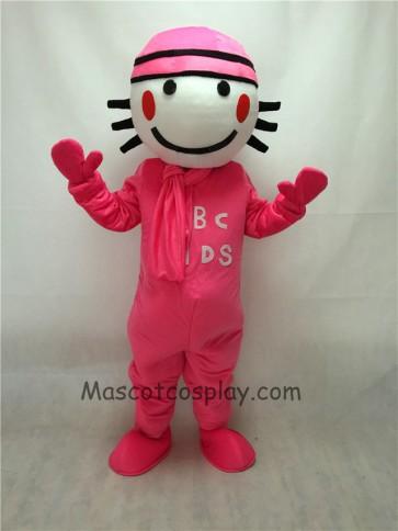 Cute Pink Round Head Doll Mascot Costume