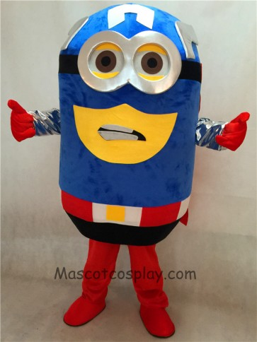 Despicable Me Minions Captain America Mascot Costume with Cape Fancy Dress Outfit