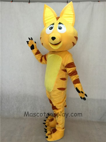 Light Yellow Cat Adult Mascot Costume with Brown Stripes