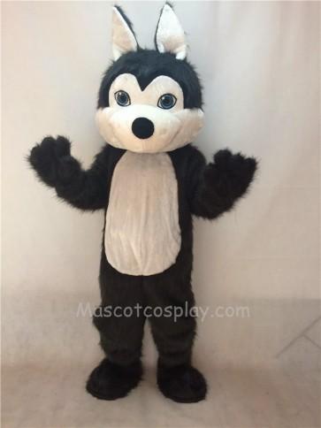 Cute Dark Long Hair Friendly Husky Dog Mascot Costume