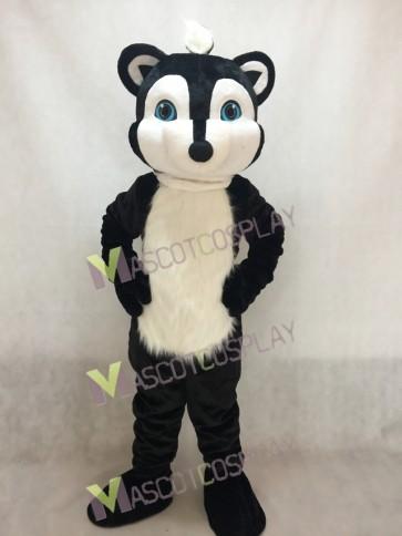 Black Skunky Skunk Mascot Costume with Blue Eyes