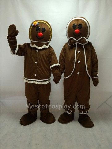 Cute Gingerbread Boy and Girl Mascot Costumes