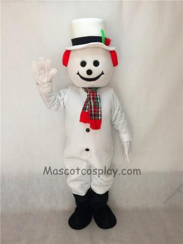 Cute Jolly Snowman with Hat, Earmuffs & Scarf Christmas Mascot Costume