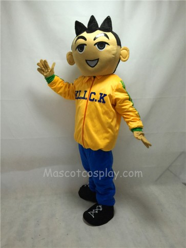 Cute Big Head Boy In Yellow Clothes Mascot Costume