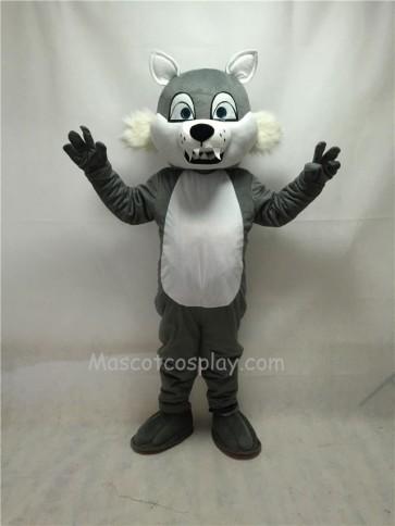 Fierce Gray Short-haired Wolf Mascot Costume