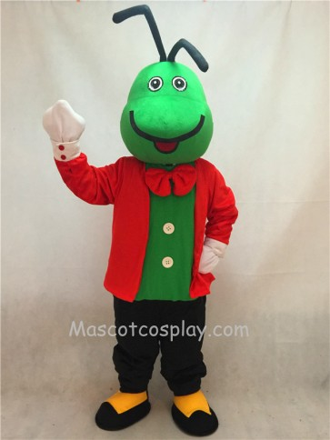 Green Christopher Cricket Mascot Costume with Red Clothes