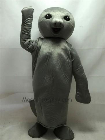 Cute Gray Manatee Mascot Costume