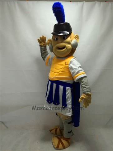 Fierce Troy Trojan Mascot Costume with Yellow Armour