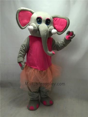 Cute New Pink Skirt Ballerina Elephant Mascot Costume
