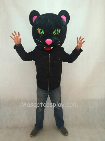 New Black Panther Mascot Costume HEAD ONLY with Green Eyes
