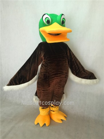 Green Head Brown Mallard Duck Mascot Costume