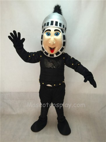 Cute Comic Knight Mascot Costume with Silver Hemlet