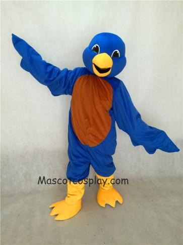 Blue Bird Mascot Costume with Yellow Beak