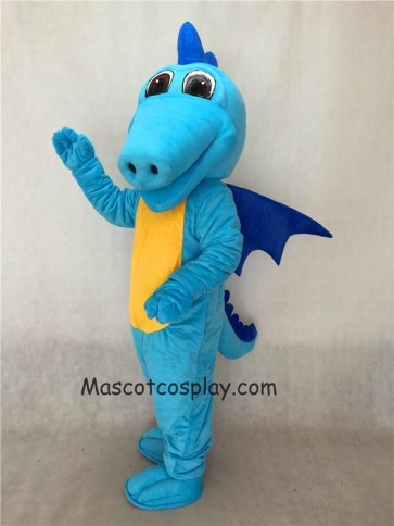 Light Blue Turquoise Dragon Mascot Costume with Dark Blue Wings