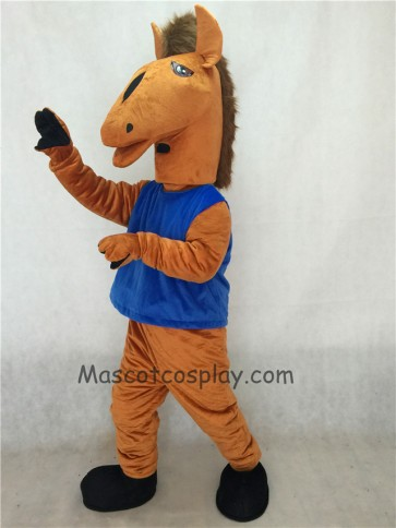 Brown Mustang Mascot Costume with Blue Vest