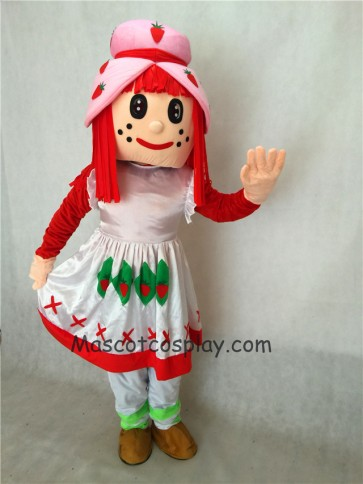 Strawberry Shortcake Girl Adult Mascot Costume in White Dress