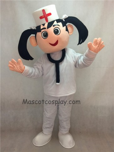 Nurse in White Hat and Suit Mascot Costume