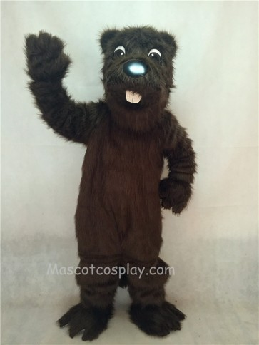 Long Hair Brown Barney Beaver Mascot Costume